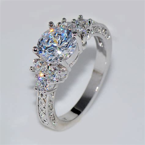 bague mariage or blanc 5 80 ct lab white sapphire wedding ring 10kt white