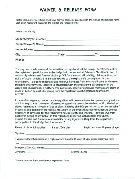 release waiver template  printable documents