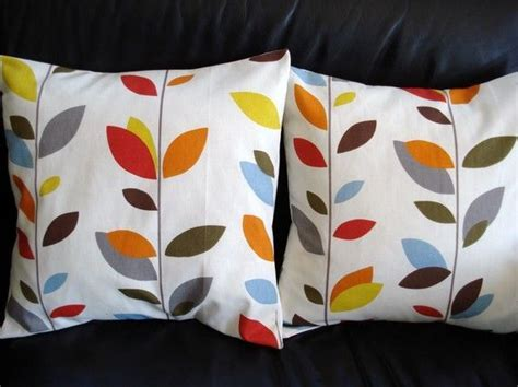 Throw pillow covers orange blue olive red yellow grey gray