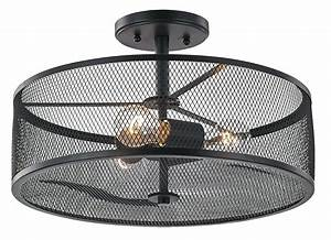 Industrial, Black, Metal, Ceiling, Light, Fixture, With, Wire, Mesh, Shade, By, Haysoms, Lightfixtures