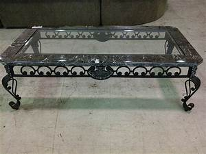 black wrought iron coffee table with black marble and With black iron and glass coffee table