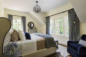 pretty wingback bed in bedroom farmhouse with navy bedding With beige and blue bedroom ideas