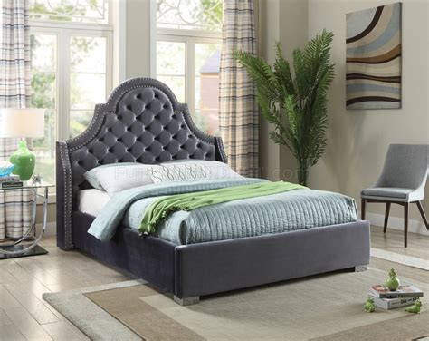 madison upholstered bed  grey velvet fabric woptions