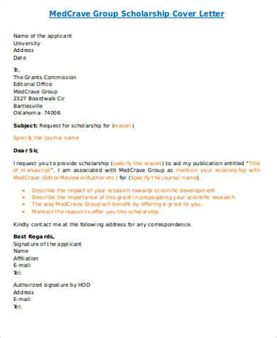 Cover Letter For A Scholarship by Cover Letter For Scholarship 5 Exles In Word Pdf