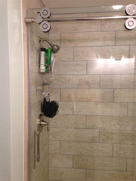 wood tile  shower stall marazzi home depot glass door  allen roth frameless bathrooms