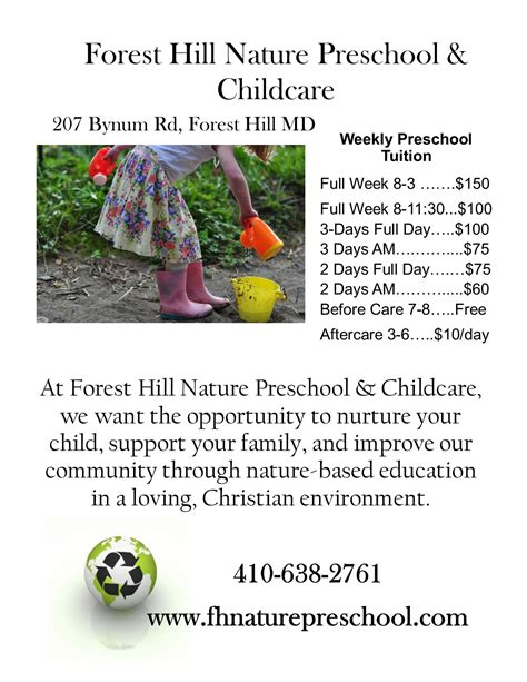 forest hill nature preschool amp childcare has openings now 580 | FHNP sidebar ad