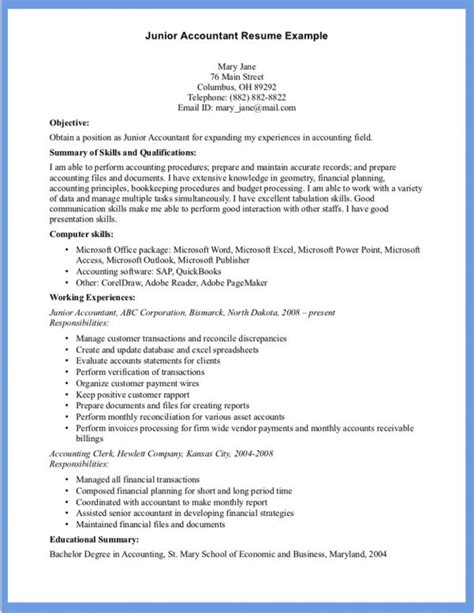 Junior Accountant Resume Templates by Accountant Resume Staff Accountant Resume Cover Letter