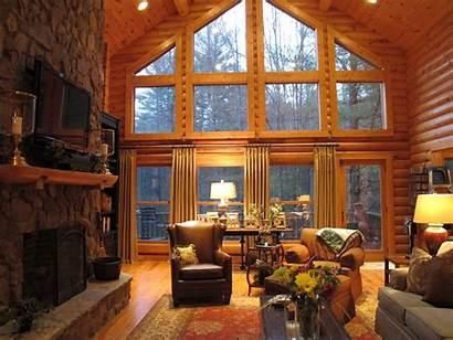 Cabin Living Log Rooms Windows Decor Fireplace