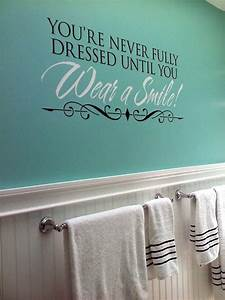 updated our bathroom with this fun wall quote and tiffany With cute sayings for bathroom walls
