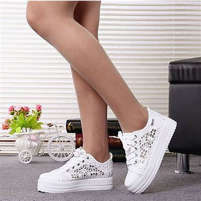 Shoes Flat Lace Summer Casual Canvas Platform