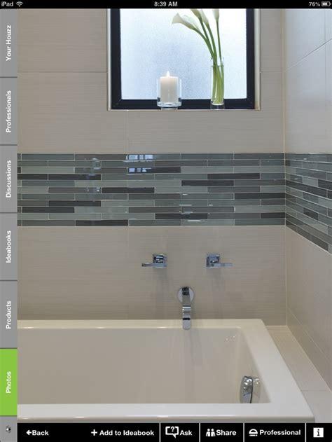 white and glass tile border bathroom glass