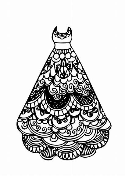 Coloring Pages Printable Lace Colouring Gown Ball