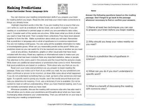 making predictions reading worksheets spelling grammar comprehension lesson plans
