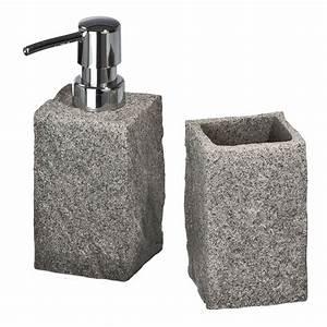 Ausgefallene Wc Sitze : wenko 2 tlg bad accessoire set granit zanhputzbecher seifenspender badset neu ebay ~ Indierocktalk.com Haus und Dekorationen