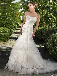 Strapless fit and flare ruched bodice wedding dresses with for Strapless fit and flare wedding dress