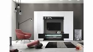 Porte Tv Mural : un meuble tv mural design lumineux andora2 avec beaucoup de rangement ~ Teatrodelosmanantiales.com Idées de Décoration