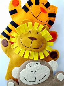 Sewing lion monkey tiger felt hand puppets res0303 for Tiger puppet template