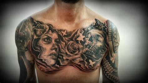 chest piece tattoo  justyna kurzelowska  dark rose