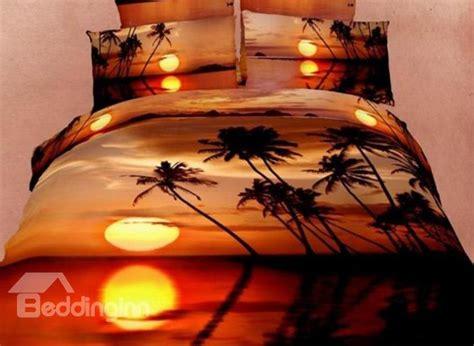 coconut tree   sunset print duvet cover sets