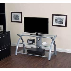 Calico, Designs, Futura, 42, U0026quot, Wide, 3, Shelf, Tv, Stand, In, Silver, Clear, Glass, 50600