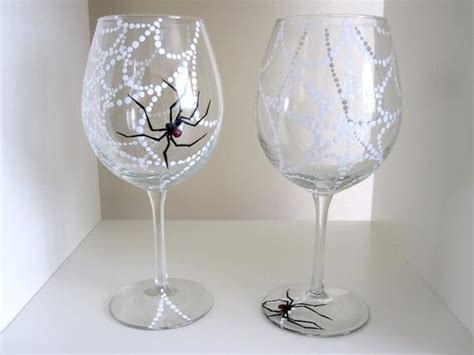 Halloween Glassware Spider Web Wine Glasses Set Of 2 By Meku