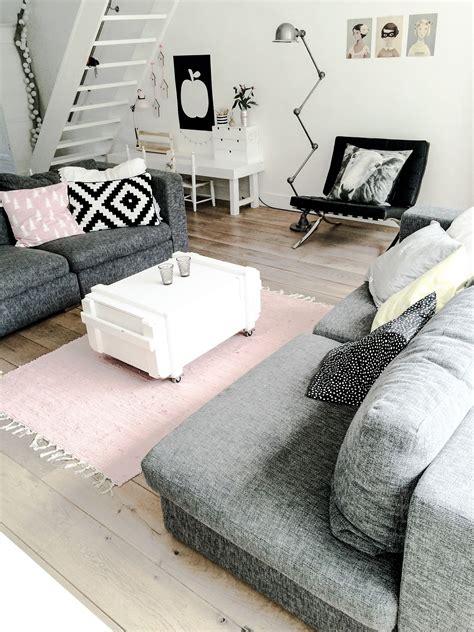 killer color combo black white pale pink grey condo
