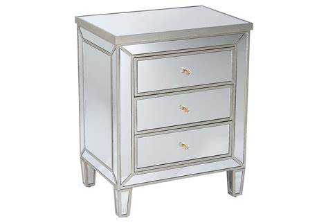 Mirrored Nightstand by Mirrored Nightstand Pewter From One