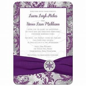 wedding invitation winter wonderland ice amethyst With blank silver wedding invitations