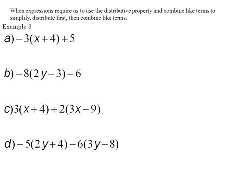 distributive property and combining like terms worksheet