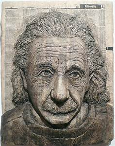 3d portraits made from phone books for Carved phone book portraits