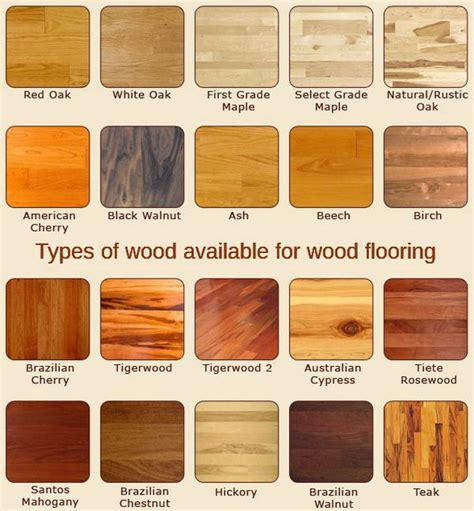 what type of wood is best for kitchen cabinets this flooring chart shows the many types of wood available