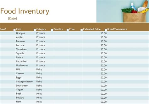 food inventory food inventory spreadsheet