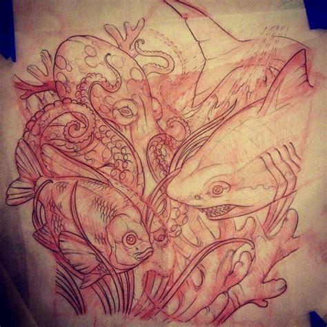 custom tattoo underwater leg tattoo sketch