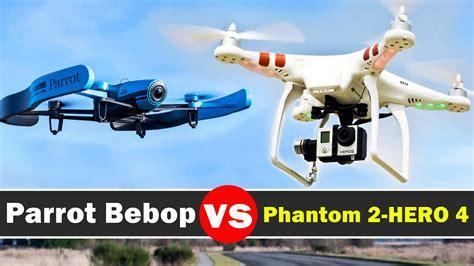 parrot bebop  dji phantom   gopro hero  black drone comparison youtube
