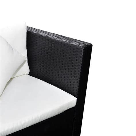 canapé de jardin 2 places salon de jardin avec canapé 2 places en polyrotin noir