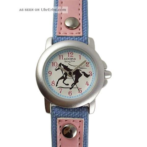 kinderuhr hell blau rosa pink pferd lederarmband nylon
