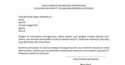 Surat Pernyataan Bersedia Ditempatkan Di Kantor Kejaksaan Seluruh Indonesia by Contoh Lengkap Surat Pernyataan Bersedia Ditempatkan Di