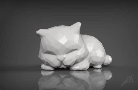 cute sleepy cat   print stl  model  printable