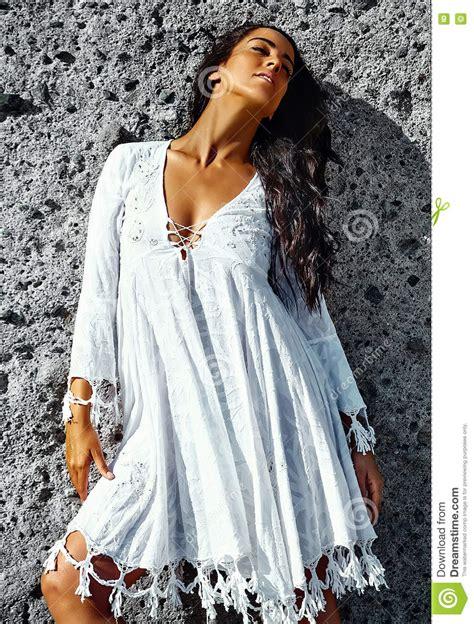 Portrait Of Beautiful Caucasian Hot Brunette Girl Model