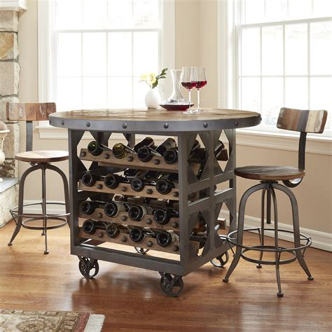 kitchen table with wine storage industrial wine storage pub table so that s cool 8647