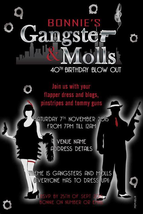 gangster moll birthday digital printable invitation