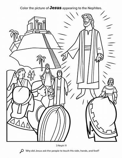 Jesus Nephites Coloring Pdf Lds Temple Mormon