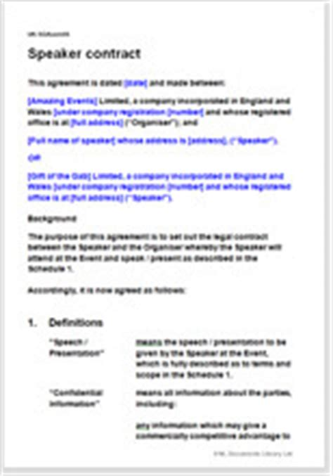speaking engagement contract template