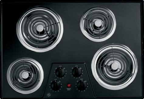 ge jpbkbb   electric cooktop   coil elements removable drip bowls upfront