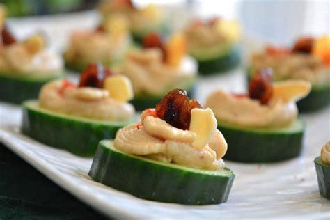 dining canapes recipes cucumber hummus canapé vegan gluten free one green