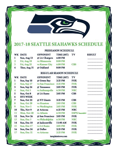 printable   seattle seahawks schedule