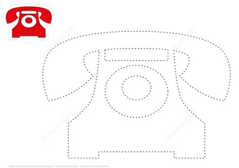 draw red telephone  tracing dashed lines