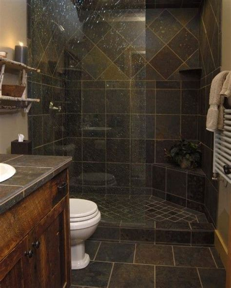 gorgeous slate tile shower   small bathroom