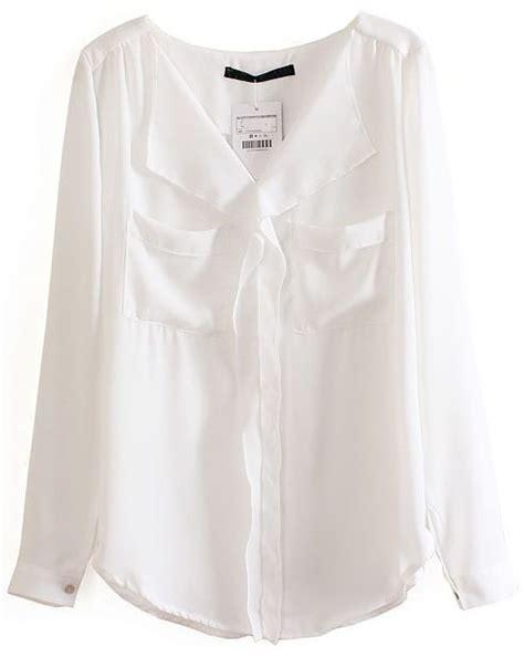 white blouse sleeve white sleeve pockets chiffon blouse shein sheinside