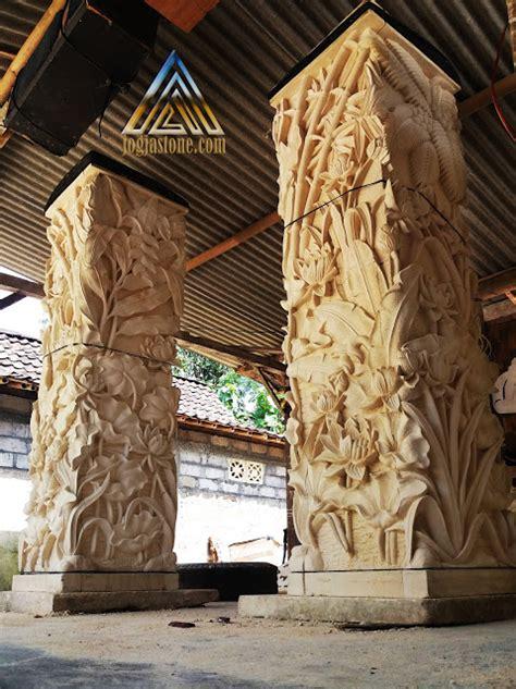 Contoh model tiang teras rumah minimalis modern ➤ foto tiang teras rumah batu alam bernuansa klasik namun elegan. Pilar teras motif pemandangan - Kerajinan Ukir Batu Alam ...